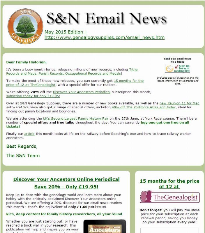 S&N Genealogy Supplies email news