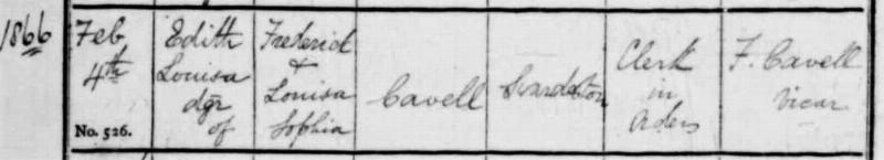 Edith Cavell baptism 4 Feb 1866 in Norfolk Parish records
