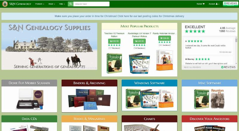 S&N Genealogy Supplies Christmas Gifts